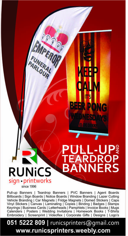 We print any banners; Pull-Up's, Rolla Banners, Teardrops, PVC banners etc.