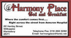 Harmony Place Bed and Breakfast